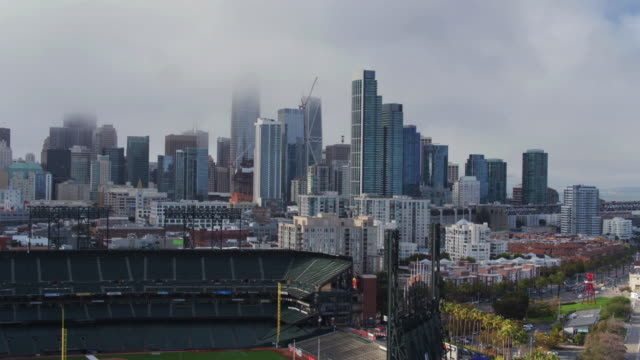 san francisco cityscape with baseball stadium - drone shot - yachting stock videos & royalty-free footage