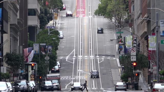 居心地の良い-19の間にサンフランシスコダウンタウン - カリフォルニアストリート点の映像素材/bロール