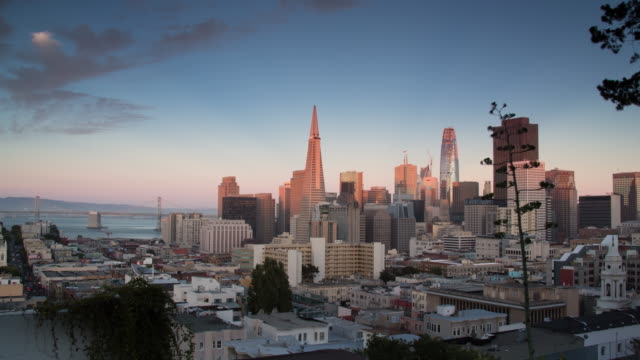 San Francisco Downtown View Sunset to Night