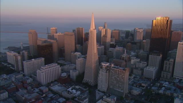 AERIAL San Francisco downtown with Transamerica Building at sunset, California, USA