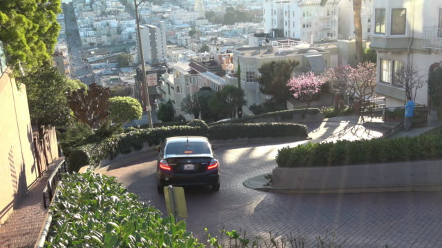 san francisco - famous lombard street - san francisco california video stock e b–roll