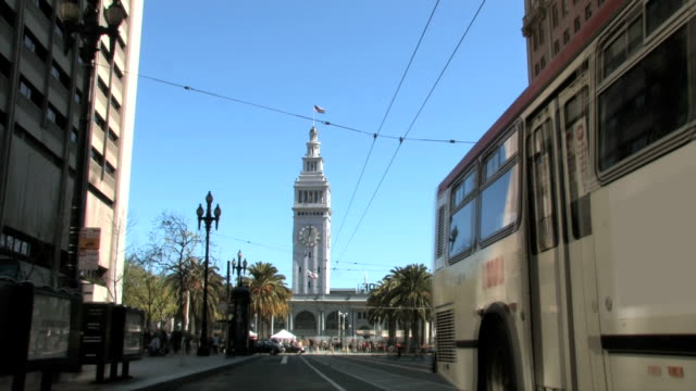 san francisco ferry building clock tower tl stop motion blur - san francisco ferry building stock videos & royalty-free footage