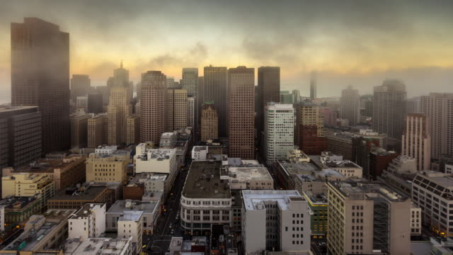 San Francisco Financial District - Day to Night Timelapse in Fog