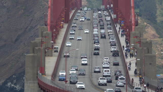 san francisco golden gate bridge traffic closeup - golden gate bridge stock videos & royalty-free footage