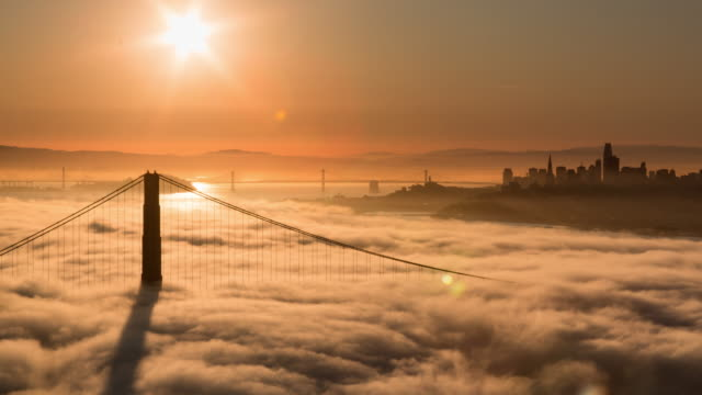 san francisco golden gate bridge warm sunrise - golden gate bridge stock videos & royalty-free footage