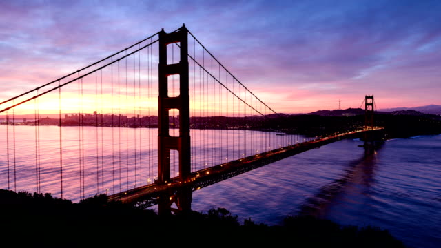 san francisco golden gate sonnenaufgang-zeitraffer - golden gate bridge stock-videos und b-roll-filmmaterial