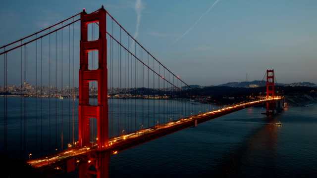 san francisco harbor and golden gate bridge at night - golden gate bridge stock videos & royalty-free footage