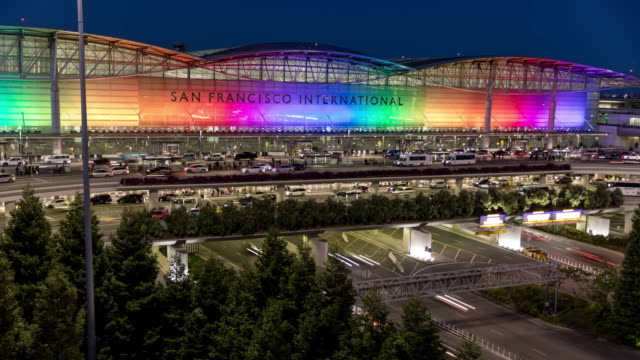 stockvideo's en b-roll-footage met san francisco international airport-sfo rainbow pride - san francisco california