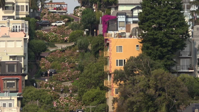 san francisco lombard street and cable car - lombard street san francisco stock videos & royalty-free footage