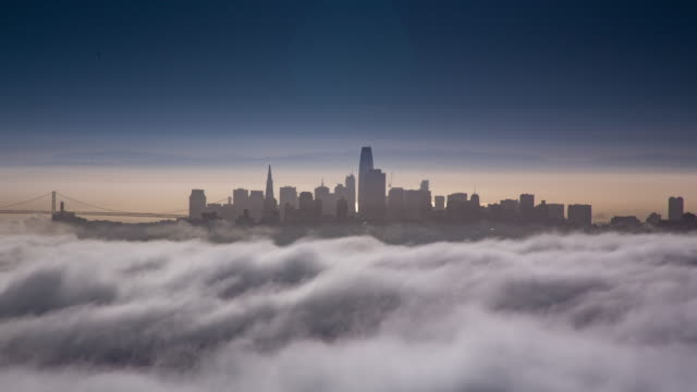 san francisco low fog morning light - golden gate bridge stock videos & royalty-free footage