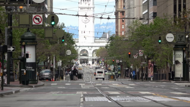 san francisco market street during covid19 - california street san francisco stock videos & royalty-free footage