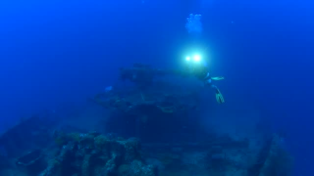 san francisco maru, underwater wrecks, truk lagoon, chuuk micronesia - exploration stock videos & royalty-free footage