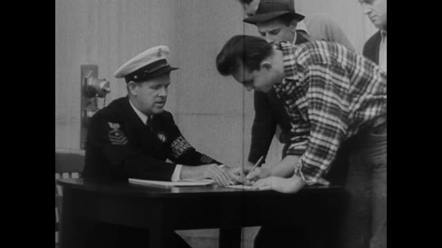 San Francisco men sign up for naval duty during WWII