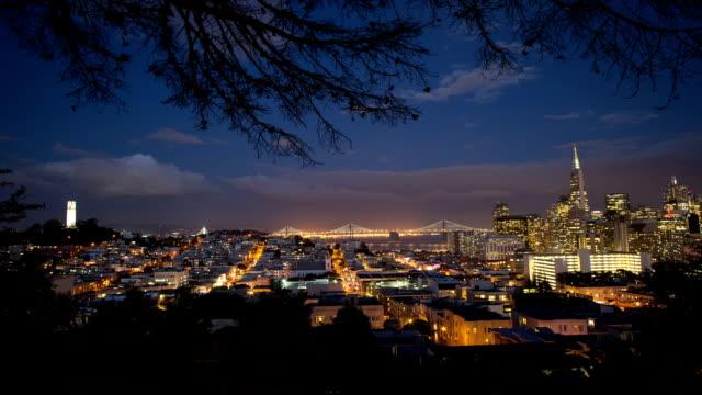 san francisco night view - san francisco oakland bay bridge stock videos & royalty-free footage