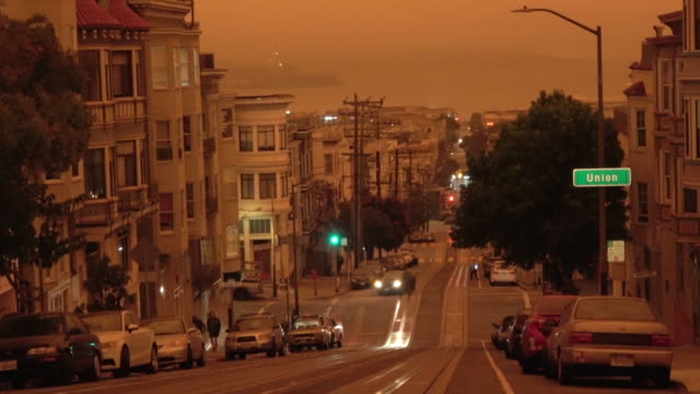 san francisco orange sky during california forest fire - san francisco california stock videos & royalty-free footage