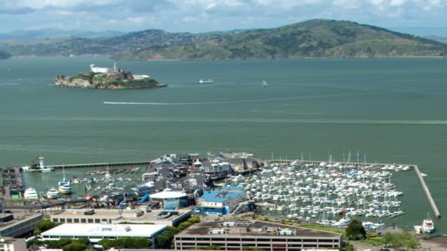san francisco -  pier 39 and alcatraz - pier 39 san francisco stock videos & royalty-free footage