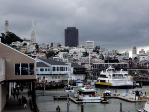 san francisco pier time lapse - fisherman's wharf san francisco stock videos & royalty-free footage
