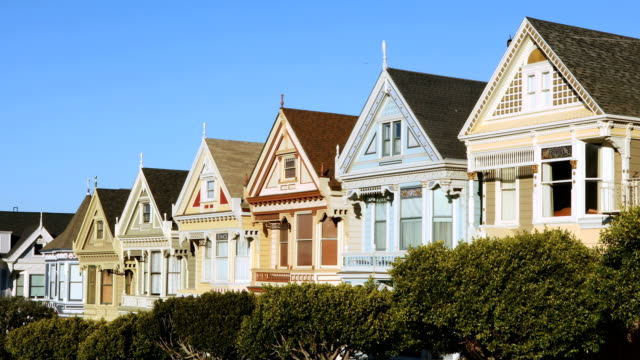San Francisco row of painted Victorian houses 4k video