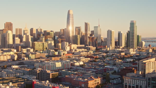 san francisco sunrise aerial - san francisco california video stock e b–roll