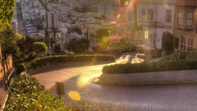san francisco sunrise at famous lombard street - fisherman's wharf san francisco stock videos & royalty-free footage