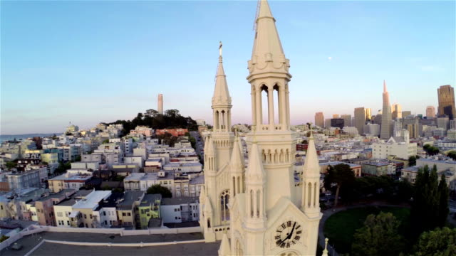 san francisco sunset aerial - north beach san francisco stock videos & royalty-free footage