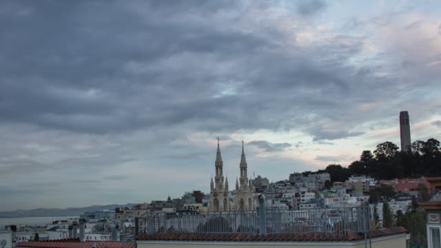 san francisco telegraph hill view sunset to night - north beach san francisco stock videos and b-roll footage