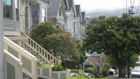 san francisco victorian architecture - townhouse stock videos & royalty-free footage