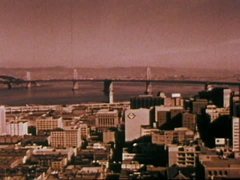 1963 san francisco - view from fairmont hotel outside elevator - san francisco bay stock videos & royalty-free footage