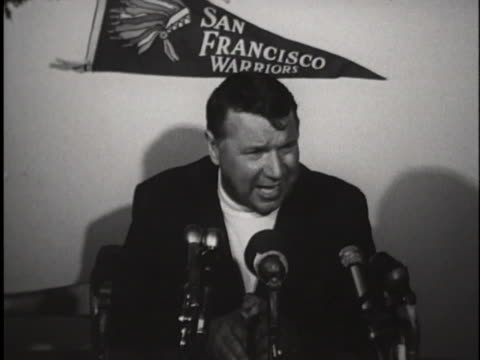 san francisco warrior official discusses pro-basketball player rick barry at a press conference. - sport stock videos & royalty-free footage