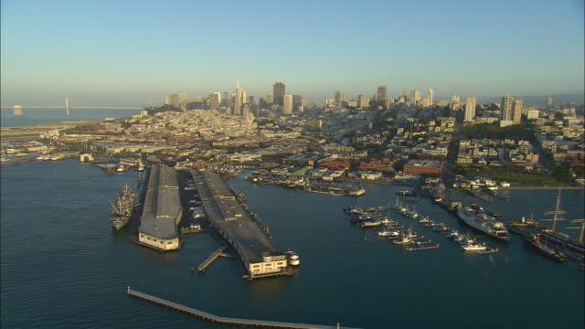 aerial san francisco waterfront from marina district to telegraph hill, san francisco, california, usa - marina stock videos & royalty-free footage