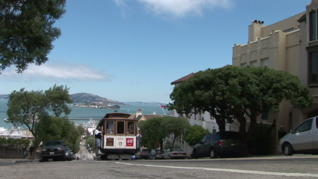 stockvideo's en b-roll-footage met san franciscocable cars in san francisco united states - kabelwagen