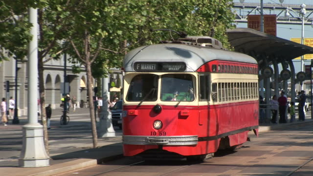 san franciscoclose view of a tram in san francisco united states - bus stock videos & royalty-free footage