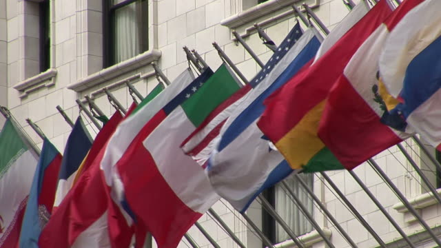 san franciscoclose view of flags flapping in san francisco united states - nob hill stock videos & royalty-free footage