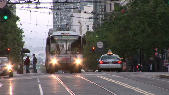 san franciscoelectric trolley bus in san francisco united states - trolley bus stock videos & royalty-free footage