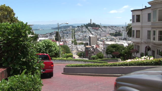 san franciscolong view of city of san francisco united states - lombard street san francisco stock videos & royalty-free footage
