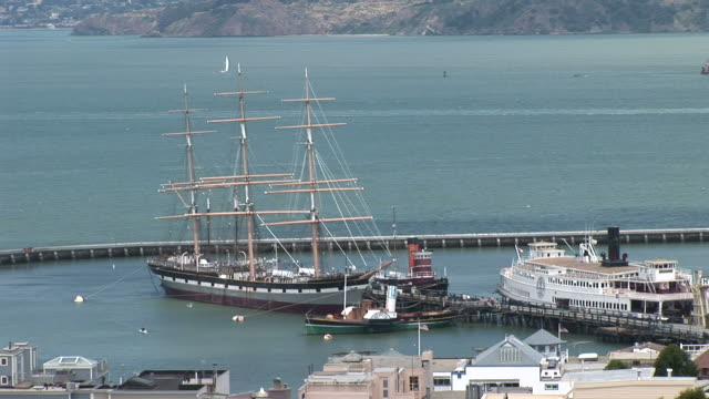 san franciscoold ship in san francisco bay in san francisco united states - backwater stock videos & royalty-free footage