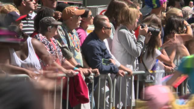 san francisco's 44th annual lgbt pride parade drew up to a million participants the theme this year color our world with pride - san francisco gay pride parade stock videos and b-roll footage