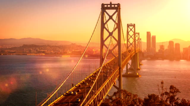 san francisco's bay bridge - kalifornien stock-videos und b-roll-filmmaterial
