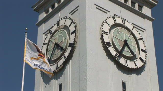 San FranciscoSan Francisco city flag in front of Ferry Building Clock Tower in San Francisco United States