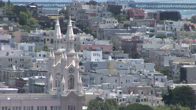 san franciscoview of north beach church in san francisco united states - north beach san francisco stock videos & royalty-free footage