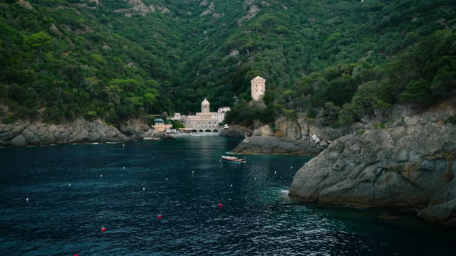 san fruttuoso abbey - abbey stock videos & royalty-free footage