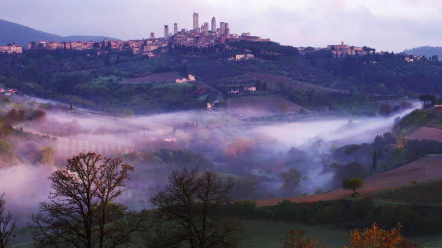 san gimignano morning mist lapse pan 1