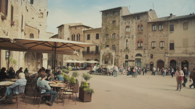 san gimignano, tuscany, in italy - courtyard stock videos & royalty-free footage