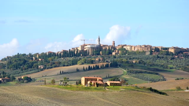 san gimignano tuscany town with blue sky in tuscany, italy - siena italy stock videos and b-roll footage