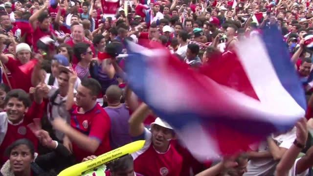 San Jose estallo en jubilo despues de que Costa Rica lograra la hazana de clasificarse para el primer cuarto de final en el partido del domingo...