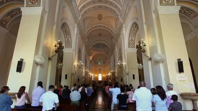 san juan bautista cathedral. old san juan - congregation stock videos & royalty-free footage