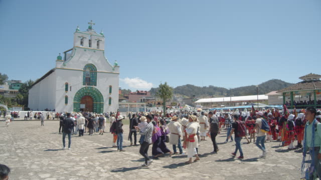 san juan chamula church square during carnival celebration. famous village because of the syncretism religion - 16th century style stock videos & royalty-free footage