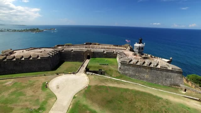 san juan puerto rico colonial fort and ocean backdrop - puerto rico stock videos and b-roll footage