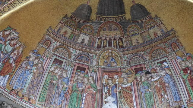 san marco basilica, mosaic of of the translation of the body of saint mark - basilica video stock e b–roll