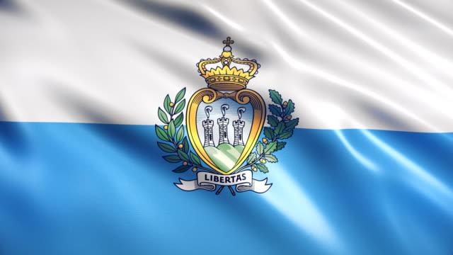 san marino flag - bandiera nazionale video stock e b–roll